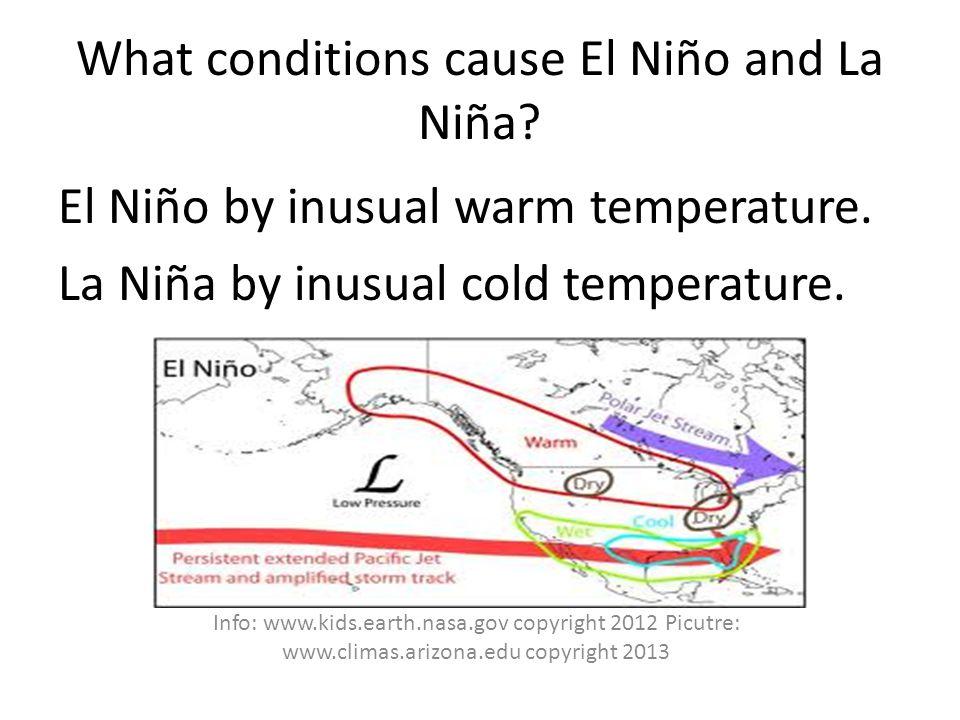 What conditions cause El Niño and La Niña. El Niño by inusual warm temperature.