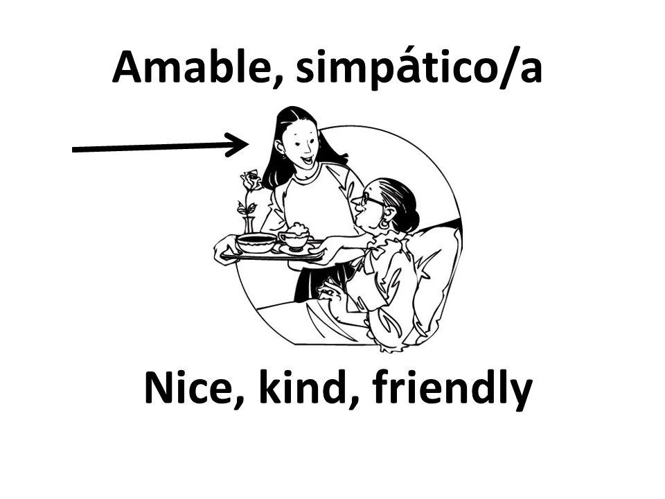Nice, kind, friendly Amable, simp á tico/a