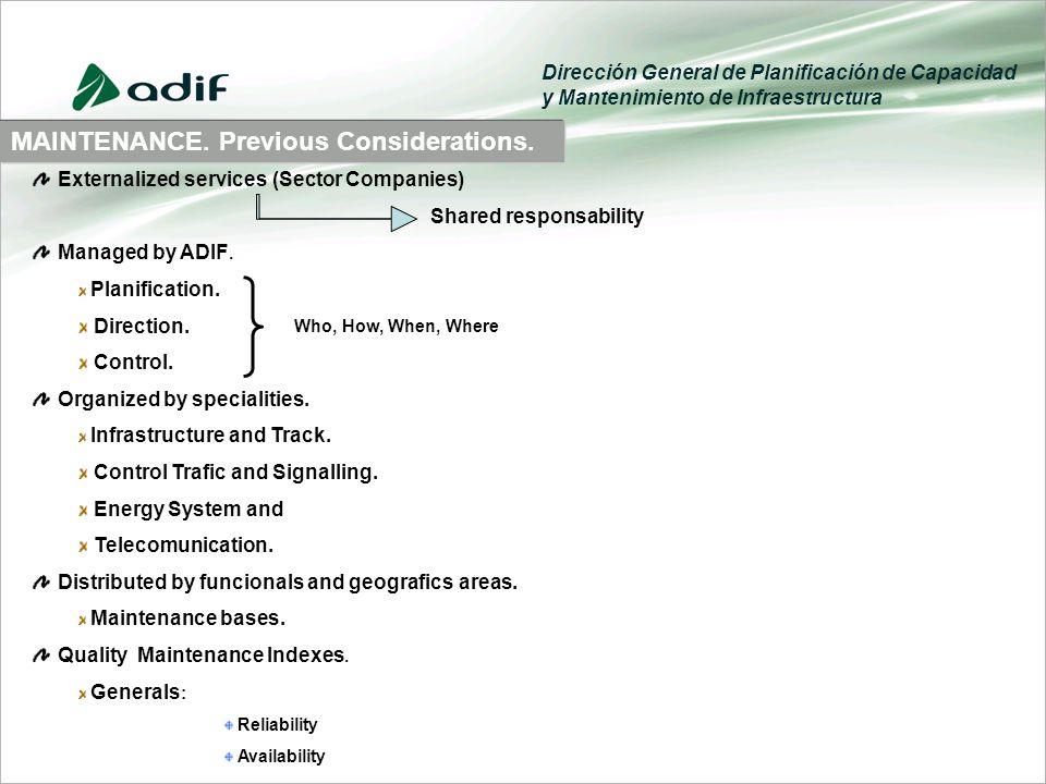 Dirección General de Planificación de Capacidad y Mantenimiento de Infraestructura MAINTENANCE.
