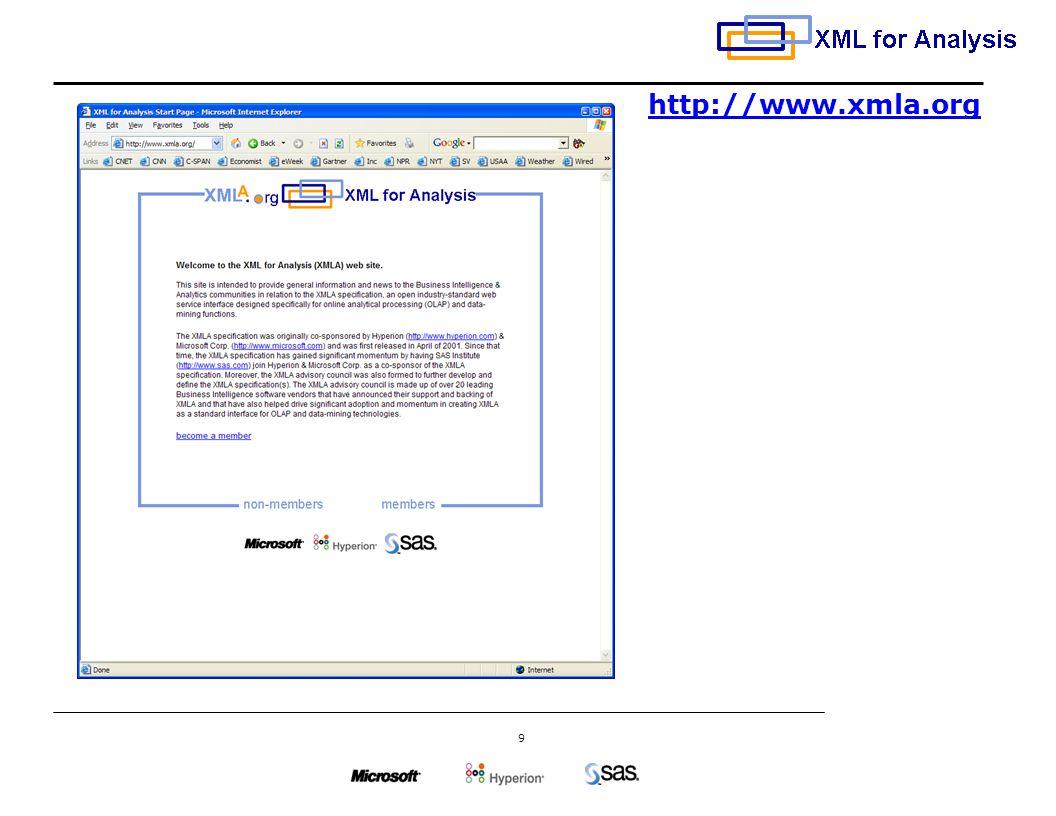 9 http://www.xmla.org