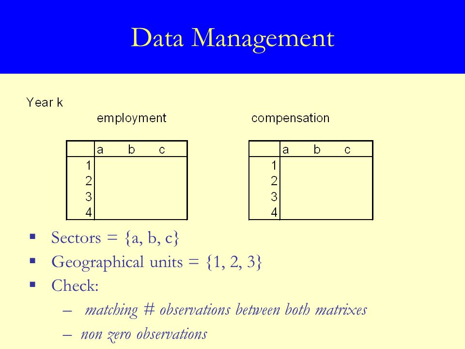 Data Management  Sectors = {a, b, c}  Geographical units = {1, 2, 3}  Check: – matching # observations between both matrixes –non zero observations