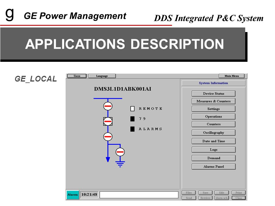 g GE Power Management DDS Integrated P&C System APPLICATIONS DESCRIPTION GE_LOCAL