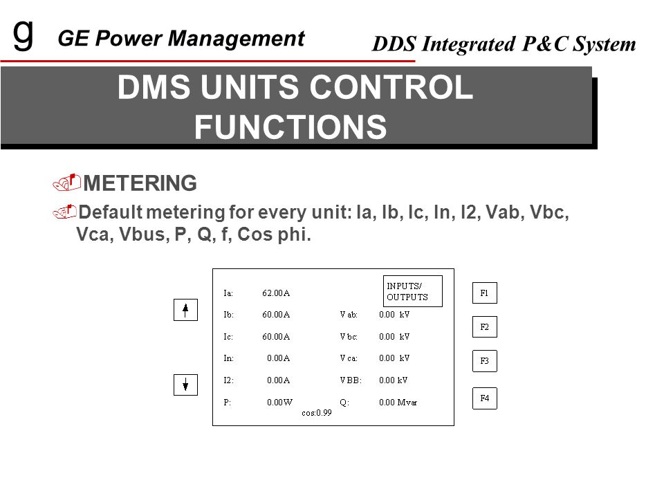 g GE Power Management DDS Integrated P&C System  ALARMS PANEL  96 Configurable alarms (32 protection, 48 control, 16 comm.)  Alarm format: Date, time, Description text.