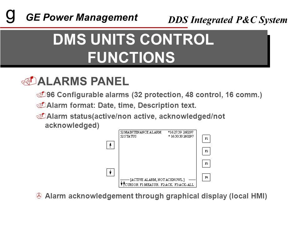 g GE Power Management DDS Integrated P&C System APPLICATIONS DESCRIPTION GE_FILE