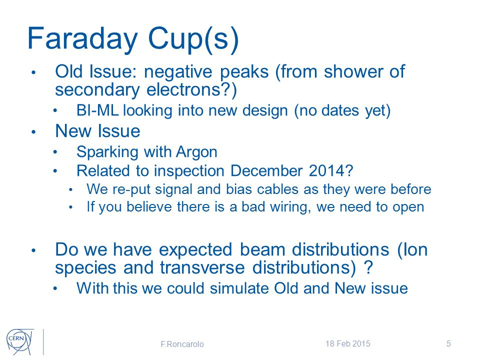 Faraday Cup(s) Old Issue: negative peaks (from shower of secondary electrons ) BI-ML looking into new design (no dates yet) New Issue Sparking with Argon Related to inspection December 2014.