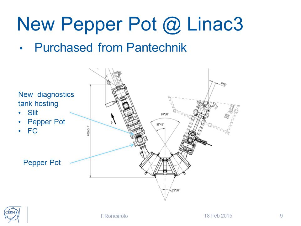 New Pepper Pot @ Linac3 Purchased from Pantechnik F.Roncarolo 18 Feb 20159 New diagnostics tank hosting Slit Pepper Pot FC Pepper Pot
