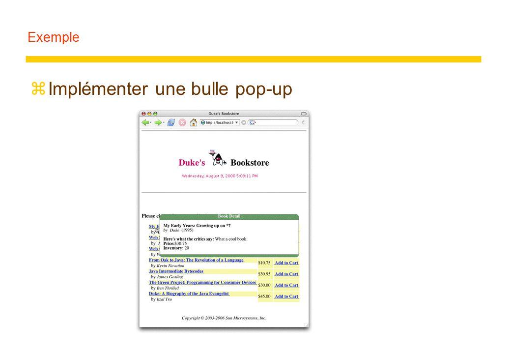 Exemple zImplémenter une bulle pop-up
