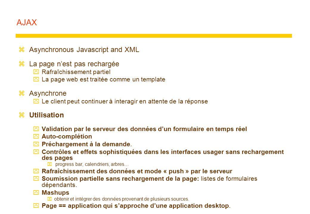 AJAX zAsynchronous Javascript and XML zLa page n'est pas rechargée yRafraîchissement partiel yLa page web est traitée comme un template zAsynchrone yL