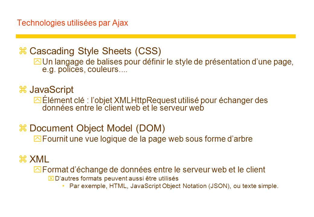 Technologies utilisées par Ajax zCascading Style Sheets (CSS) yUn langage de balises pour définir le style de présentation d'une page, e.g. polices, c