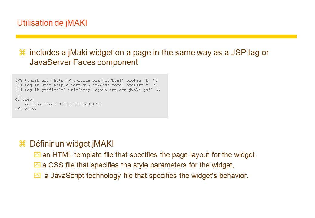 Utilisation de jMAKI zincludes a jMaki widget on a page in the same way as a JSP tag or JavaServer Faces component zDéfinir un widget jMAKI yan HTML template file that specifies the page layout for the widget, ya CSS file that specifies the style parameters for the widget, y a JavaScript technology file that specifies the widget s behavior.