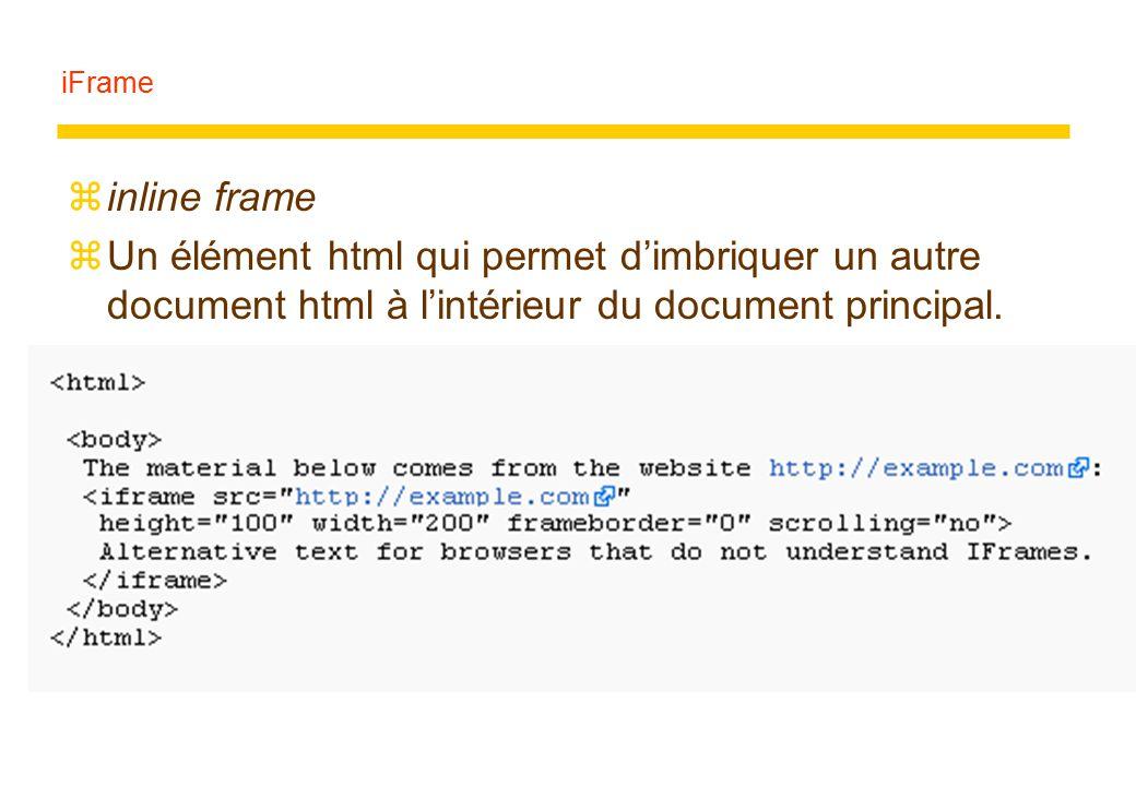 iFrame zinline frame zUn élément html qui permet d'imbriquer un autre document html à l'intérieur du document principal.