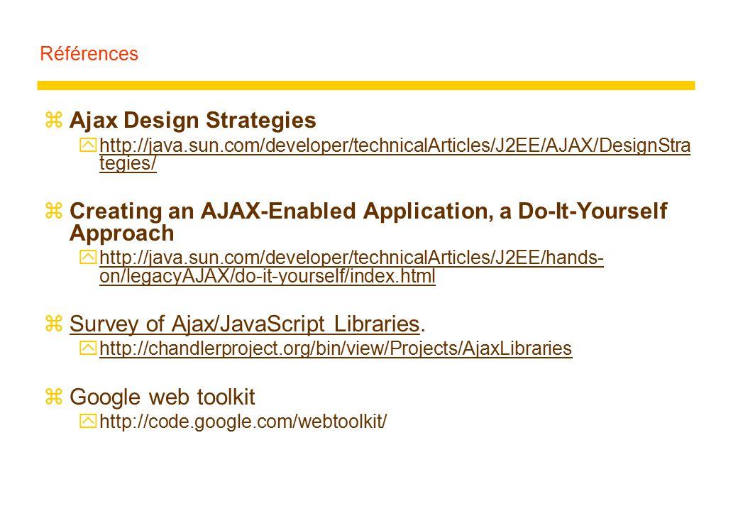 Références zAjax Design Strategies yhttp://java.sun.com/developer/technicalArticles/J2EE/AJAX/DesignStra tegies/http://java.sun.com/developer/technica