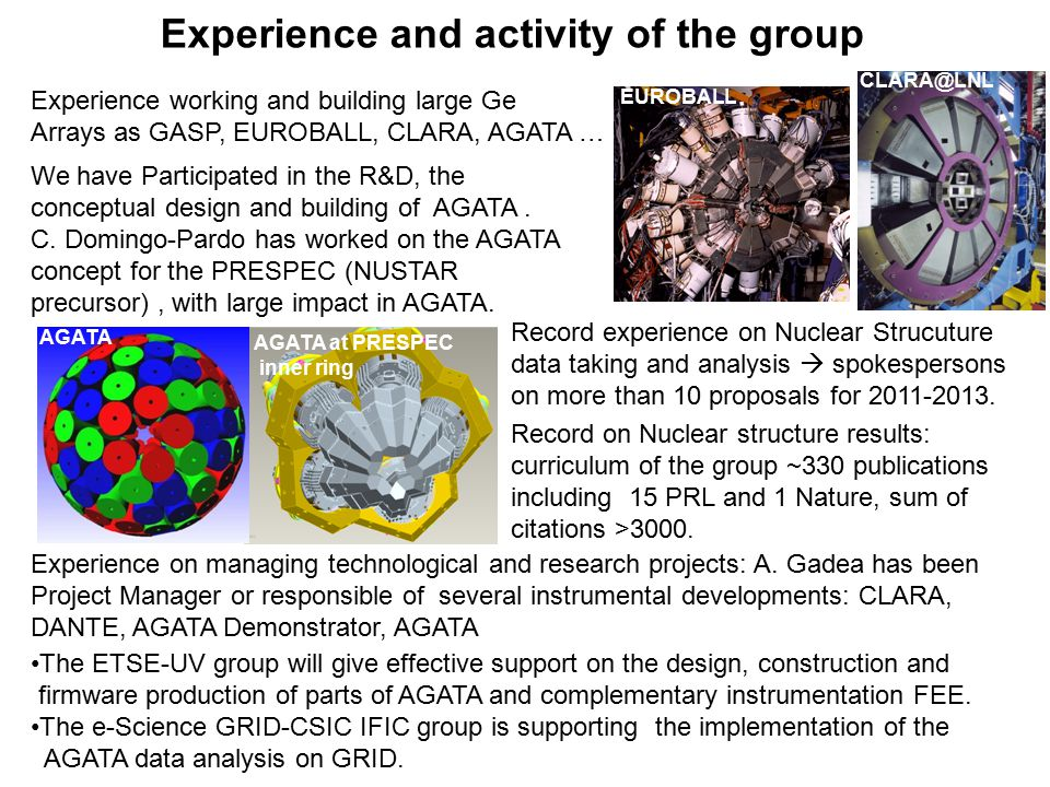Experience and activity of the group Experience working and building large Ge Arrays as GASP, EUROBALL, CLARA, AGATA … We have Participated in the R&D, the conceptual design and building of AGATA.