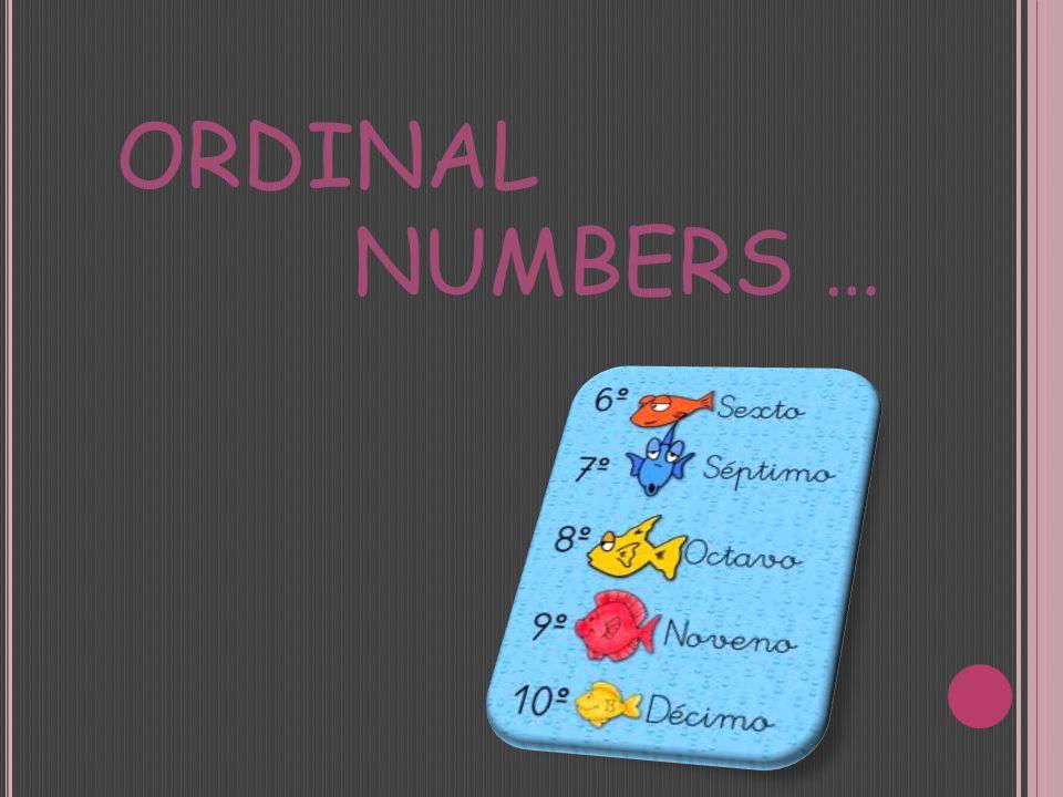 ORDINAL NUMBERS …