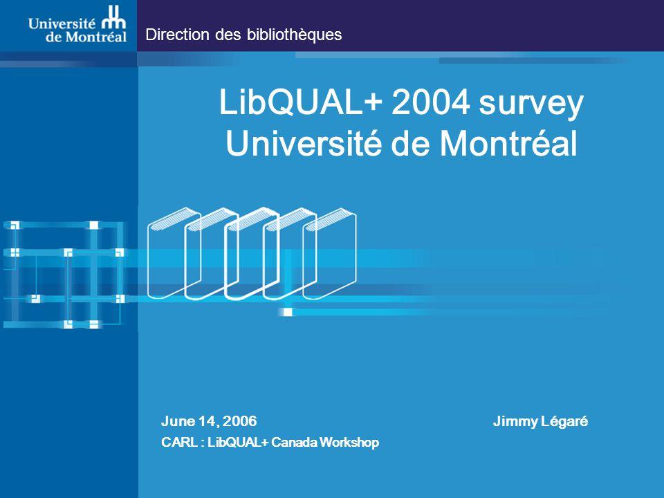 Direction des bibliothèques LibQUAL+ 2004 survey Université de Montréal June 14, 2006 Jimmy Légaré CARL : LibQUAL+ Canada Workshop