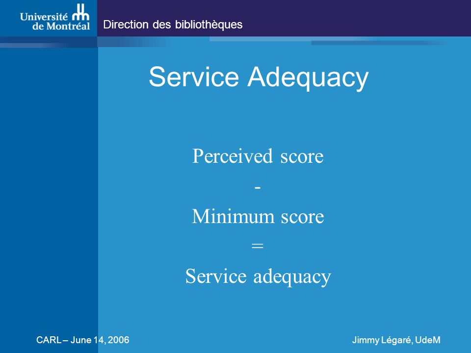 Direction des bibliothèques CARL – June 14, 2006Jimmy Légaré, UdeM Service Adequacy Perceived score - Minimum score = Service adequacy