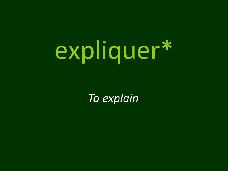 expliquer* To explain