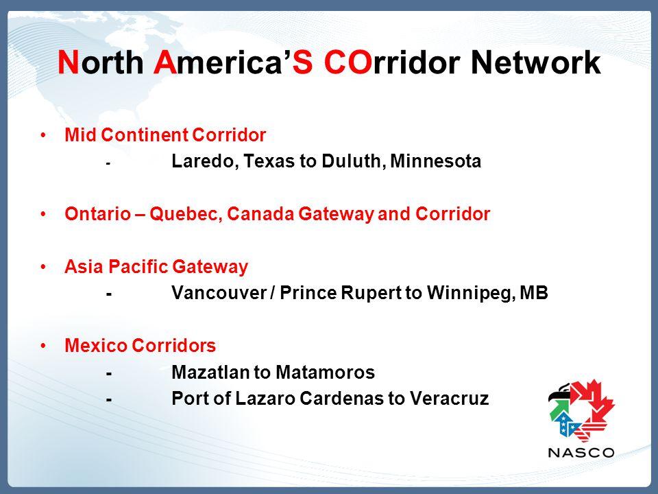North America'S COrridor Network Mid Continent Corridor - Laredo, Texas to Duluth, Minnesota Ontario – Quebec, Canada Gateway and Corridor Asia Pacific Gateway -Vancouver / Prince Rupert to Winnipeg, MB Mexico Corridors -Mazatlan to Matamoros -Port of Lazaro Cardenas to Veracruz