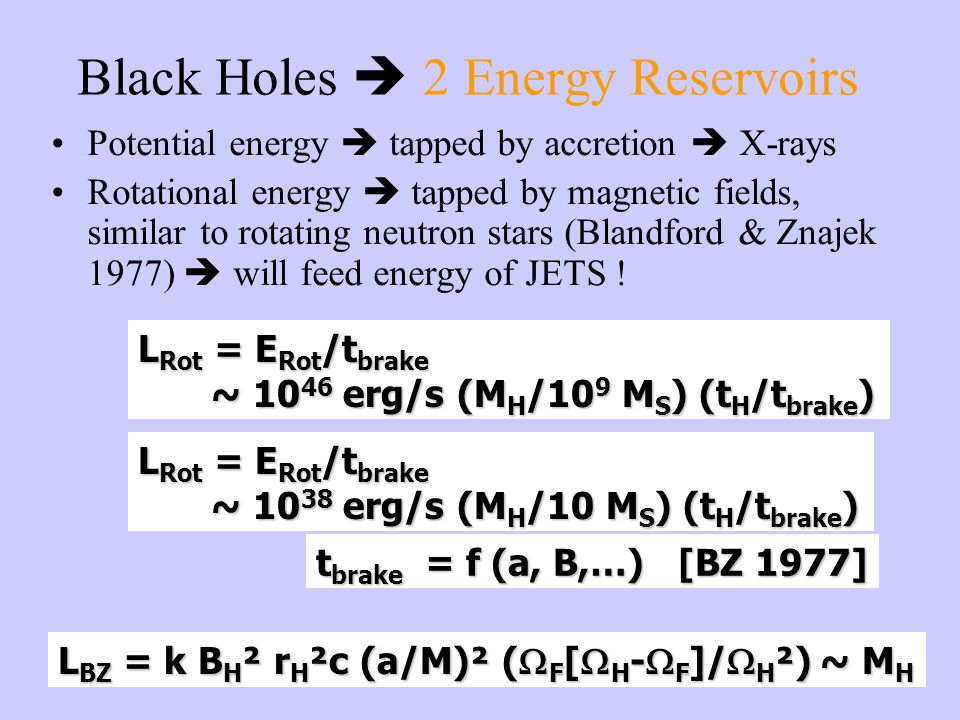 Black Holes  2 Energy Reservoirs Potential energy  tapped by accretion  X-rays Rotational energy  tapped by magnetic fields, similar to rotating neutron stars (Blandford & Znajek 1977)  will feed energy of JETS .