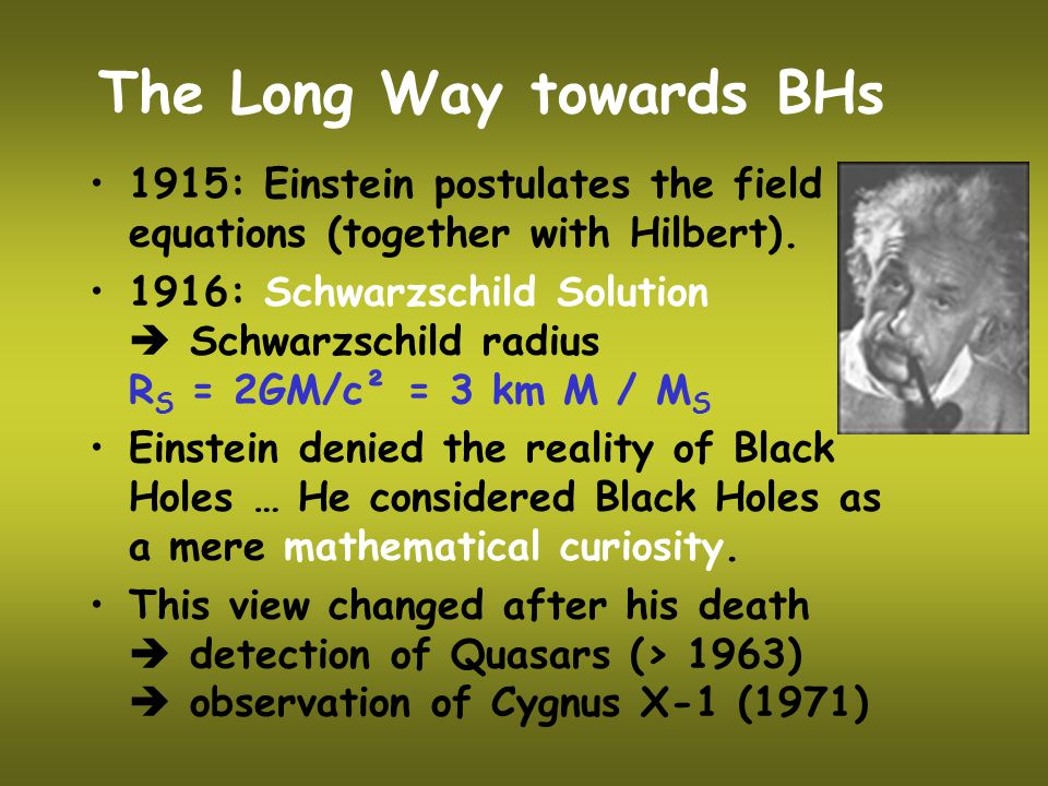 The Long Way towards BHs 1915: Einstein postulates the field equations (together with Hilbert).