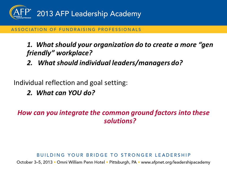 """1. What should your organization do to create a more """"gen friendly"""" workplace? 2. What should individual leaders/managers do? Individual reflection an"""