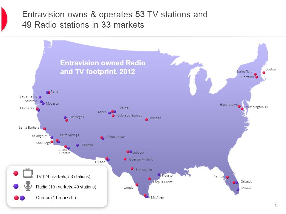13 Entravision owns & operates 53 TV stations and 49 Radio stations in 33 markets Boston Entravision owned Radio and TV footprint, 2012 TV (25 markets