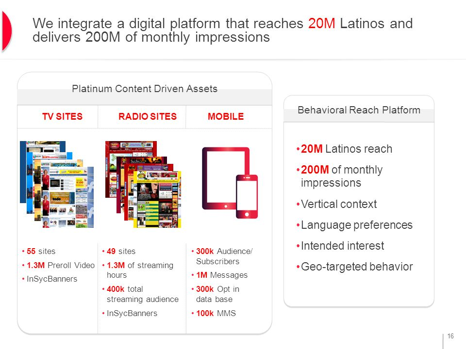 16 We integrate a digital platform that reaches 20M Latinos and delivers 200M of monthly impressions Platinum Content Driven Assets Behavioral Reach Platform MOBILE 300k Audience/ Subscribers 1M Messages 300k Opt in data base 100k MMS RADIO SITESTV SITES 49 sites 1.3M of streaming hours 400k total streaming audience InSycBanners 55 sites 1.3M Preroll Video InSycBanners 20M Latinos reach 200M of monthly impressions Vertical context Language preferences Intended interest Geo-targeted behavior