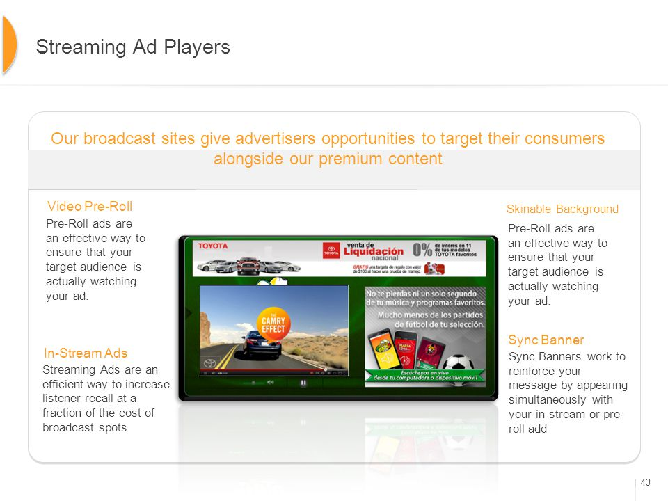 43 Streaming Ad Players Video Pre-Roll In-Stream Ads Sync Banner Skinable Background Our broadcast sites give advertisers opportunities to target their consumers alongside our premium content Pre-Roll ads are an effective way to ensure that your target audience is actually watching your ad.