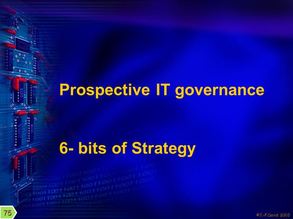 ©J.-F.David 2003 Prospective IT governance 6- bits of Strategy 75
