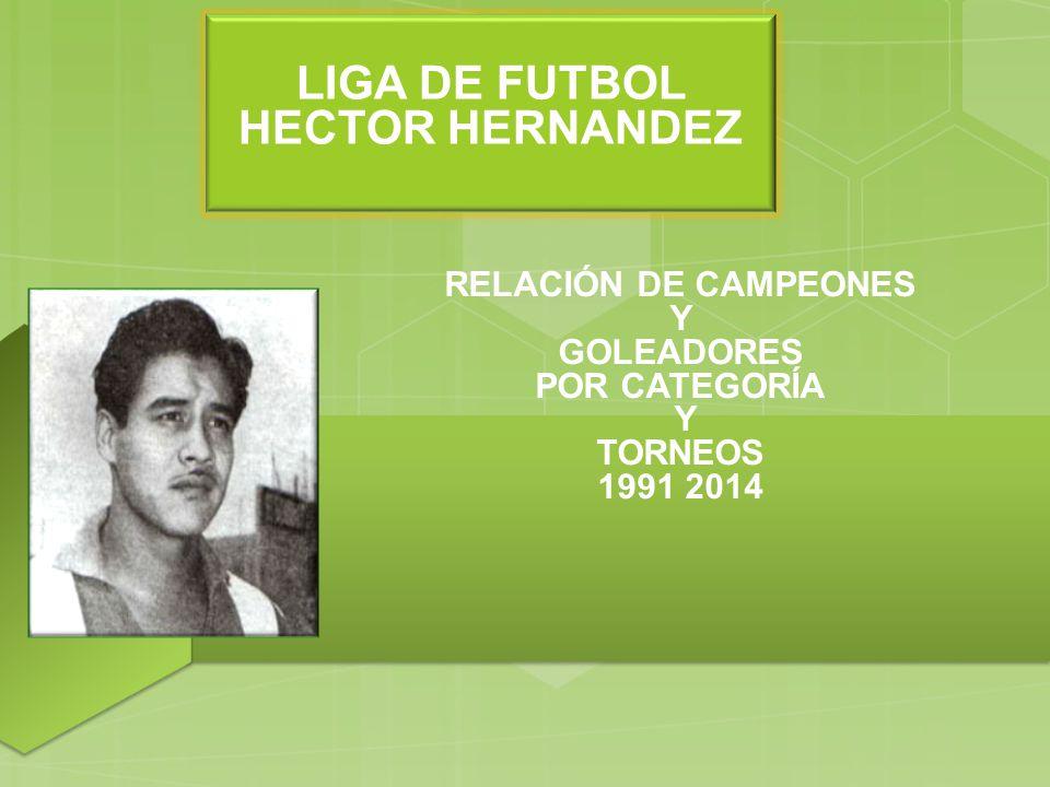 RELACIÓN DE CAMPEONES Y GOLEADORES POR CATEGORÍA Y TORNEOS 1991 2014 Subtítulo opcional aquí LIGA DE FUTBOL HECTOR HERNANDEZ