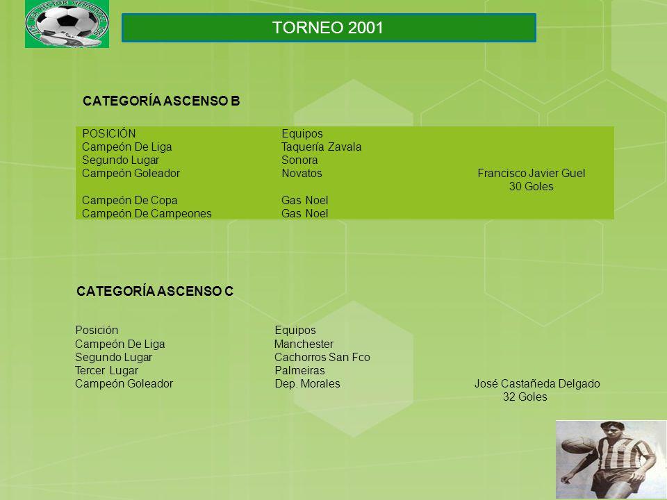 PosiciónEquipos Campeón De LigaManchester Segundo LugarCachorros San Fco Tercer LugarPalmeiras Campeón GoleadorDep.