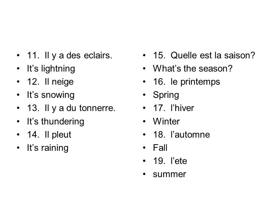 11.Il y a des eclairs. It's lightning 12. Il neige It's snowing 13.
