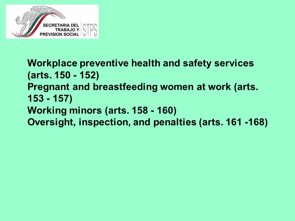 Workplace preventive health and safety services (arts.