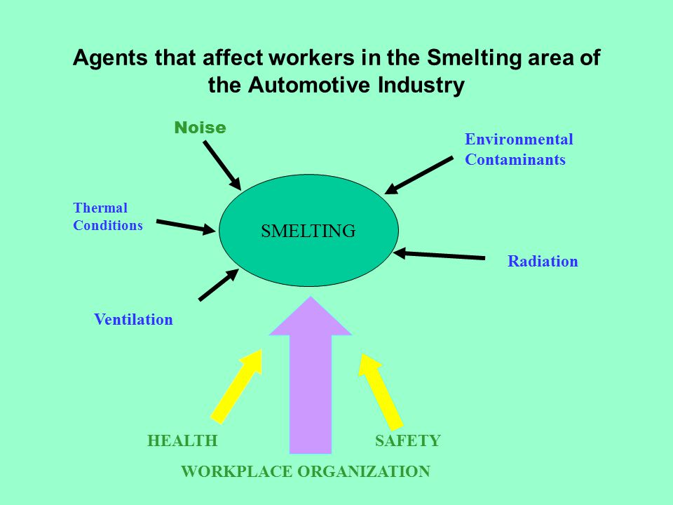 Agents that affect workers in the Smelting area of the Automotive Industry SMELTING Noise Thermal Conditions Ventilation Environmental Contaminants Radiation HEALTHSAFETY WORKPLACE ORGANIZATION