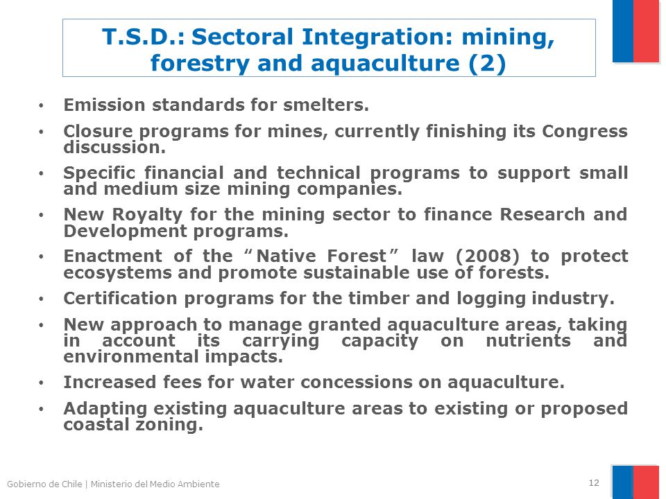 Gobierno de Chile | Ministerio del Medio Ambiente 12 T.S.D.: Sectoral Integration: mining, forestry and aquaculture (2) Emission standards for smelters.