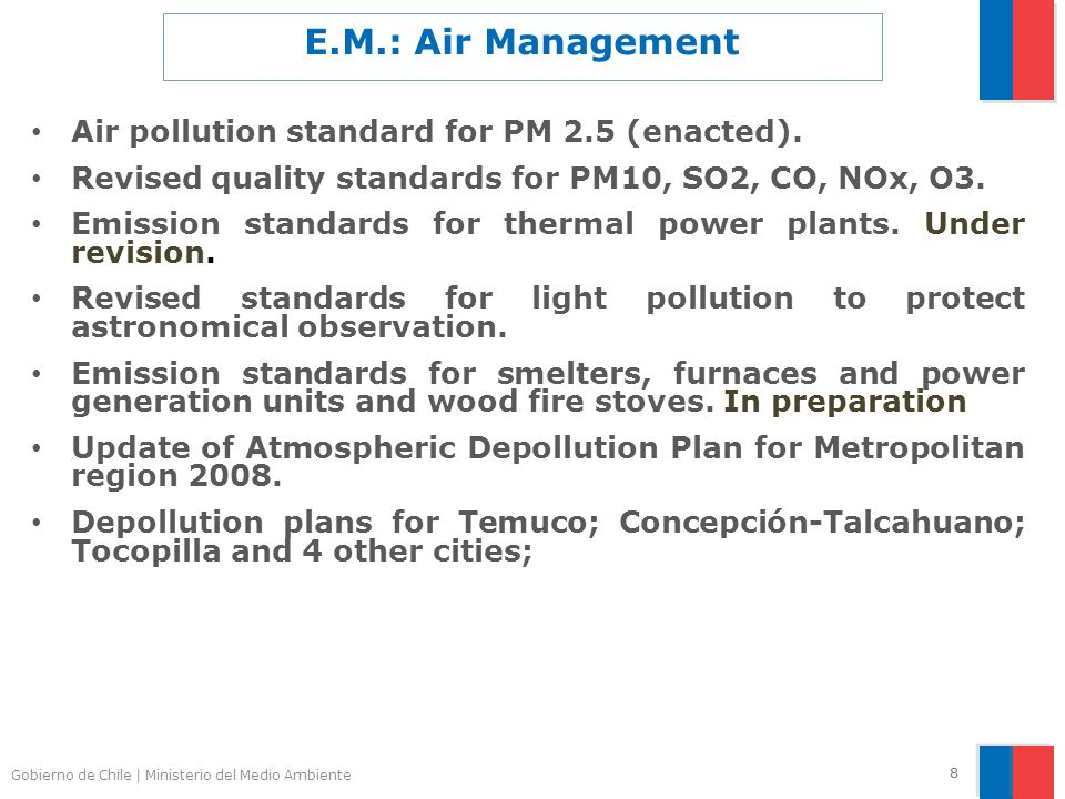 Gobierno de Chile | Ministerio del Medio Ambiente 88 E.M.: Air Management Air pollution standard for PM 2.5 (enacted). Revised quality standards for P