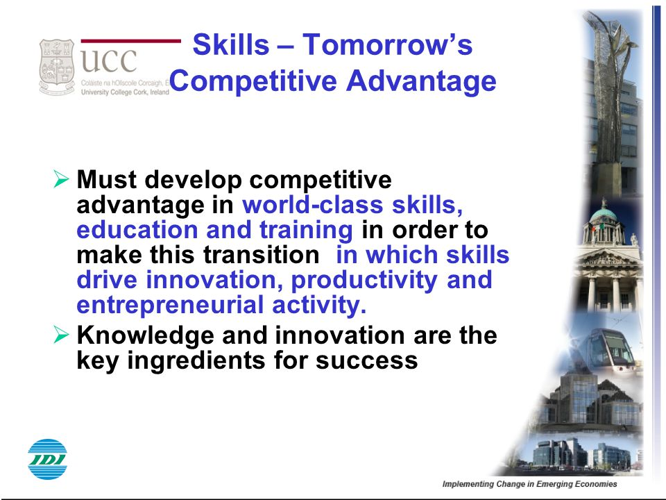 Skills – Tomorrow's Competitive Advantage  Must develop competitive advantage in world-class skills, education and training in order to make this transition in which skills drive innovation, productivity and entrepreneurial activity.