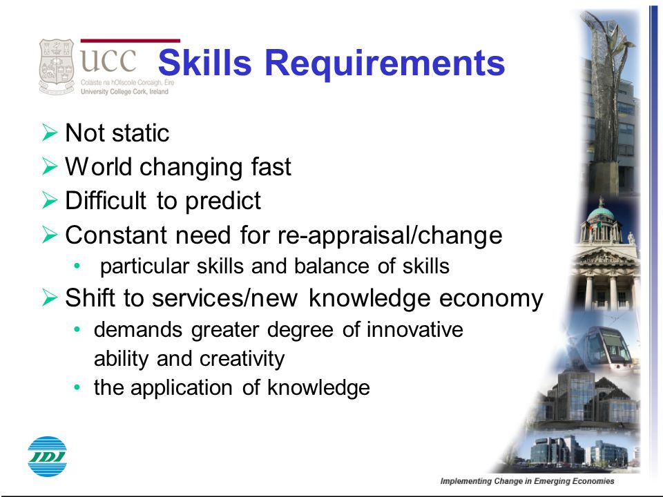 Skills Requirements  Not static  World changing fast  Difficult to predict  Constant need for re-appraisal/change particular skills and balance of
