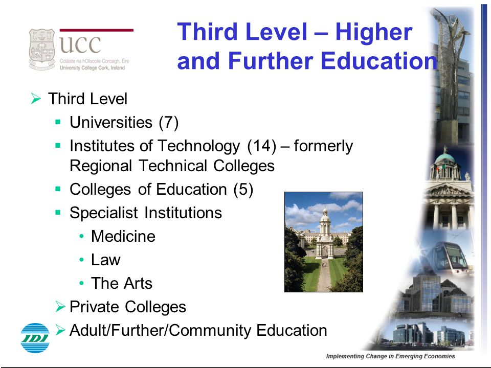 Third Level – Higher and Further Education  Third Level  Universities (7)  Institutes of Technology (14) – formerly Regional Technical Colleges  C
