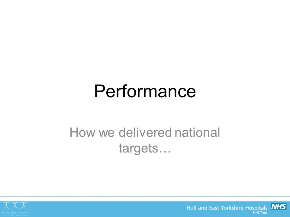 Performance How we delivered national targets…