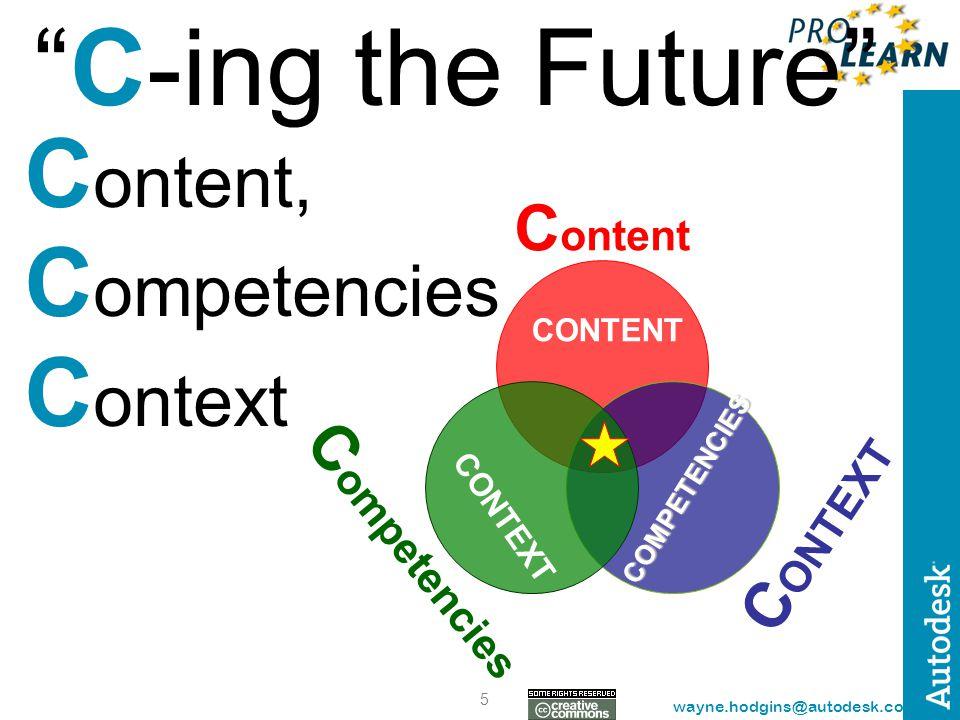 "5 wayne.hodgins@autodesk.com ""C-ing the Future"" C ontent, C ompetencies C ontext C ontent C ONTEXT C ompetencies CONTENT CONTEXT COMPETENCIES"