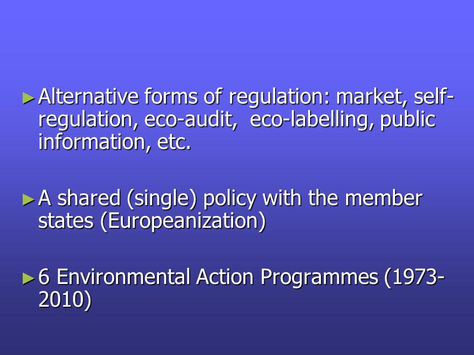 ► Alternative forms of regulation: market, self- regulation, eco-audit, eco-labelling, public information, etc.