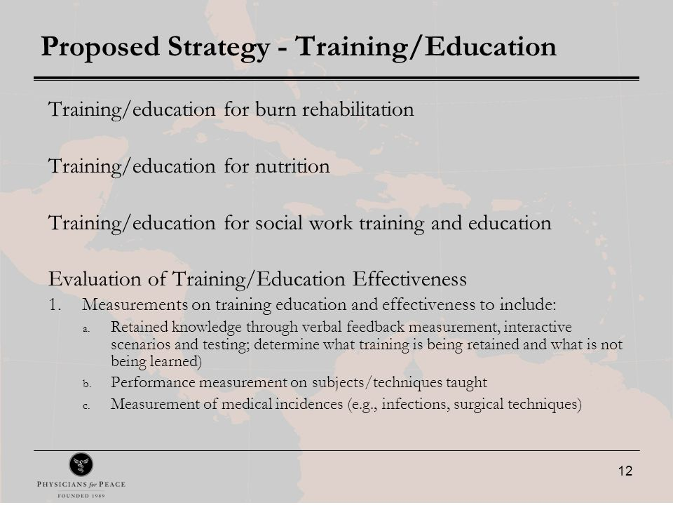 12 Proposed Strategy - Training/Education Training/education for burn rehabilitation Training/education for nutrition Training/education for social work training and education Evaluation of Training/Education Effectiveness 1.Measurements on training education and effectiveness to include: a.