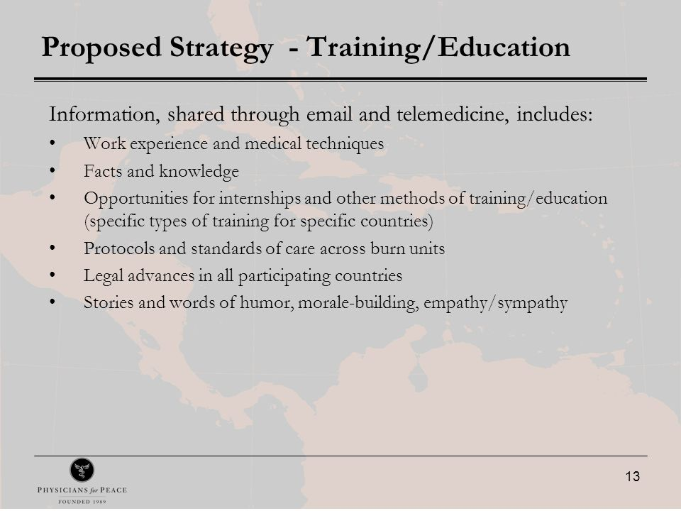 13 Proposed Strategy - Training/Education Information, shared through email and telemedicine, includes: Work experience and medical techniques Facts and knowledge Opportunities for internships and other methods of training/education (specific types of training for specific countries) Protocols and standards of care across burn units Legal advances in all participating countries Stories and words of humor, morale-building, empathy/sympathy