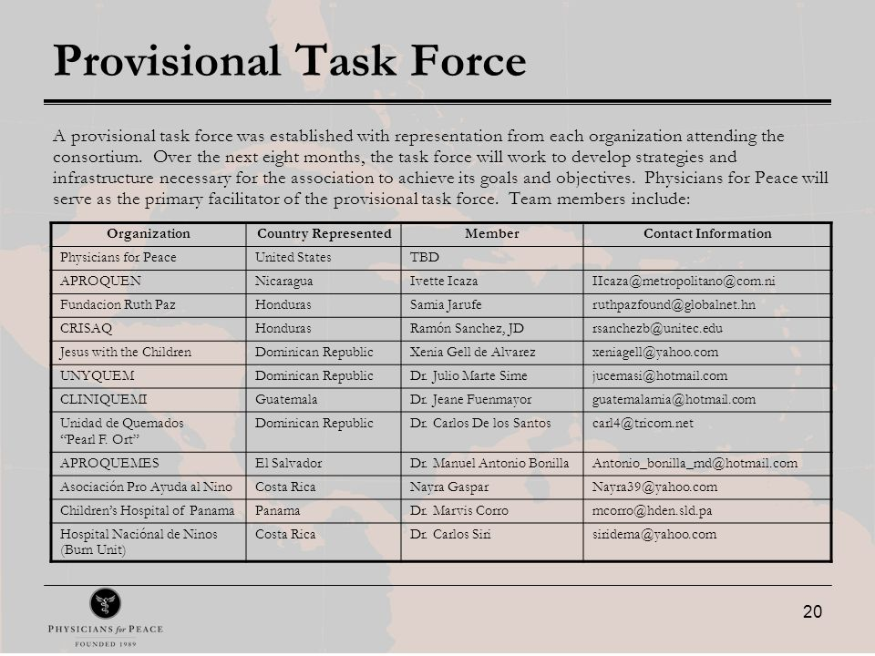 20 Provisional Task Force A provisional task force was established with representation from each organization attending the consortium.