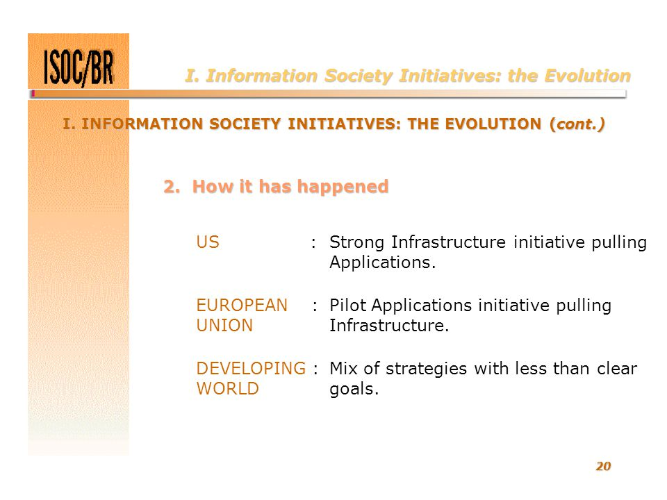 20 I. Information Society Initiatives: the Evolution I. INFORMATION SOCIETY INITIATIVES: THE EVOLUTION (cont.) US :Strong Infrastructure initiative pu