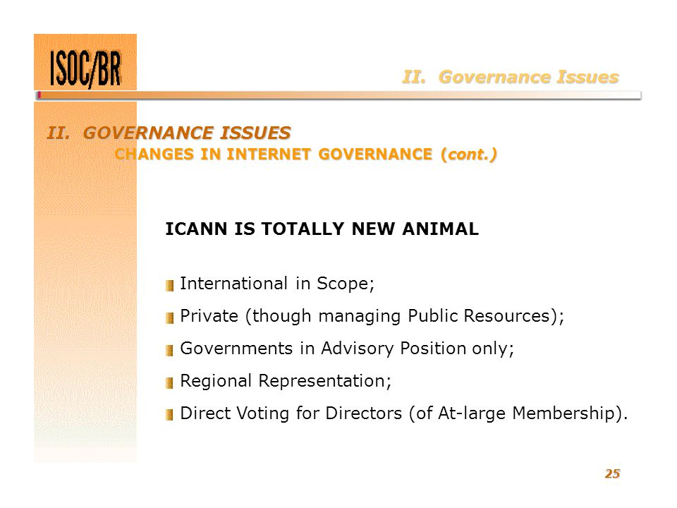 25 II. Governance Issues ICANN IS TOTALLY NEW ANIMAL International in Scope; Private (though managing Public Resources); Governments in Advisory Posit