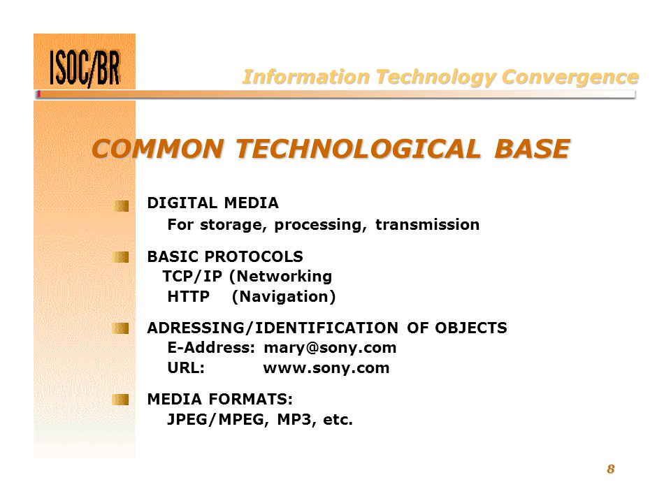 8 COMMON TECHNOLOGICAL BASE DIGITAL MEDIA For storage, processing, transmission BASIC PROTOCOLS TCP/IP (Networking HTTP (Navigation) ADRESSING/IDENTIF