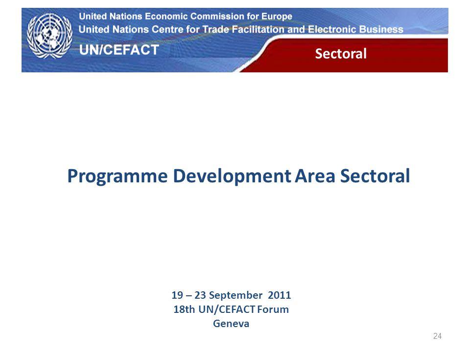 UN Economic Commission for Europe Sectoral 24 Programme Development Area Sectoral 19 – 23 September 2011 18th UN/CEFACT Forum Geneva