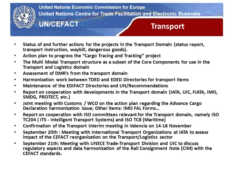 UN Economic Commission for Europe Transport Status of and further actions for the projects in the Transport Domain (status report, transport instruction, waybill, dangerous goods).